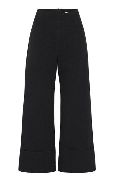 Kazashi Cotton-Linen Cropped Flared-Leg Pants