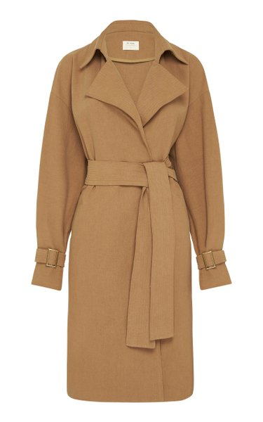 Sumi Belted Oversized Cotton-Linen Trench Coat