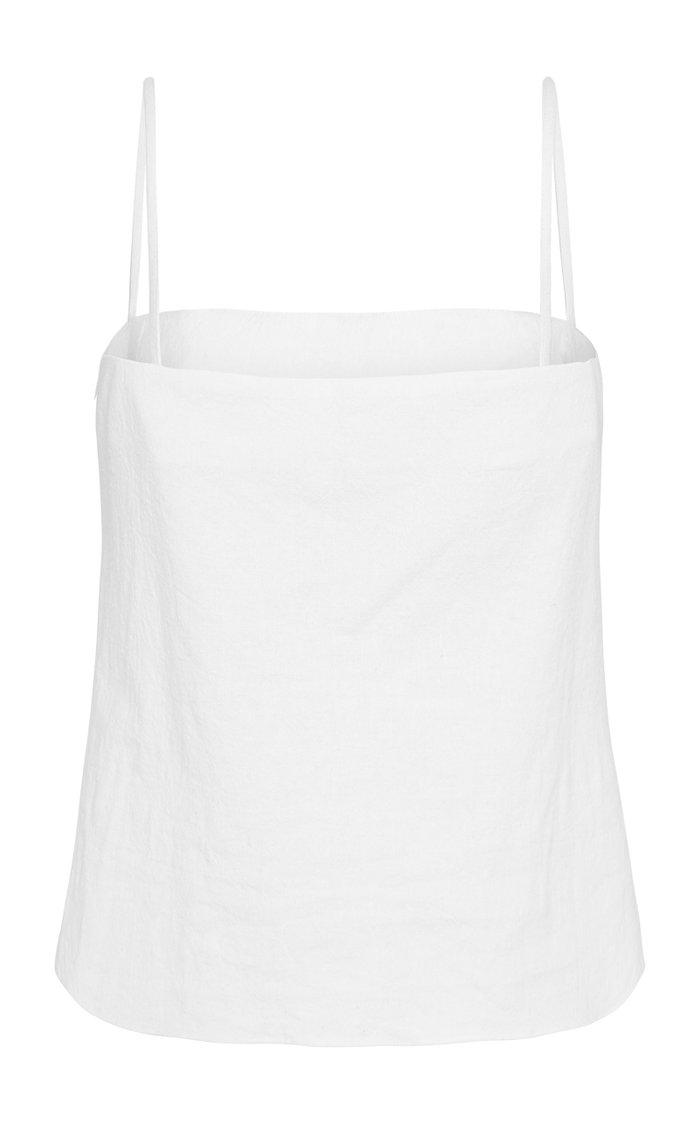 Anzu Linen-Cotton Crop Top