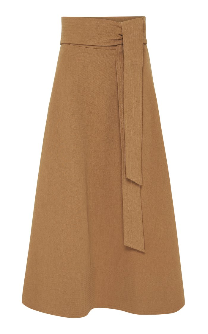 Manami Belted Cotton-Linen A-Line Midi Skirt