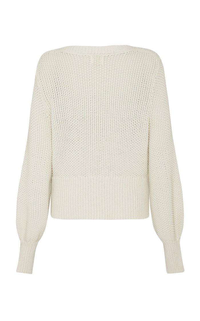 Maiko Waffle-Knit Cotton Puff-Sleeve Sweater