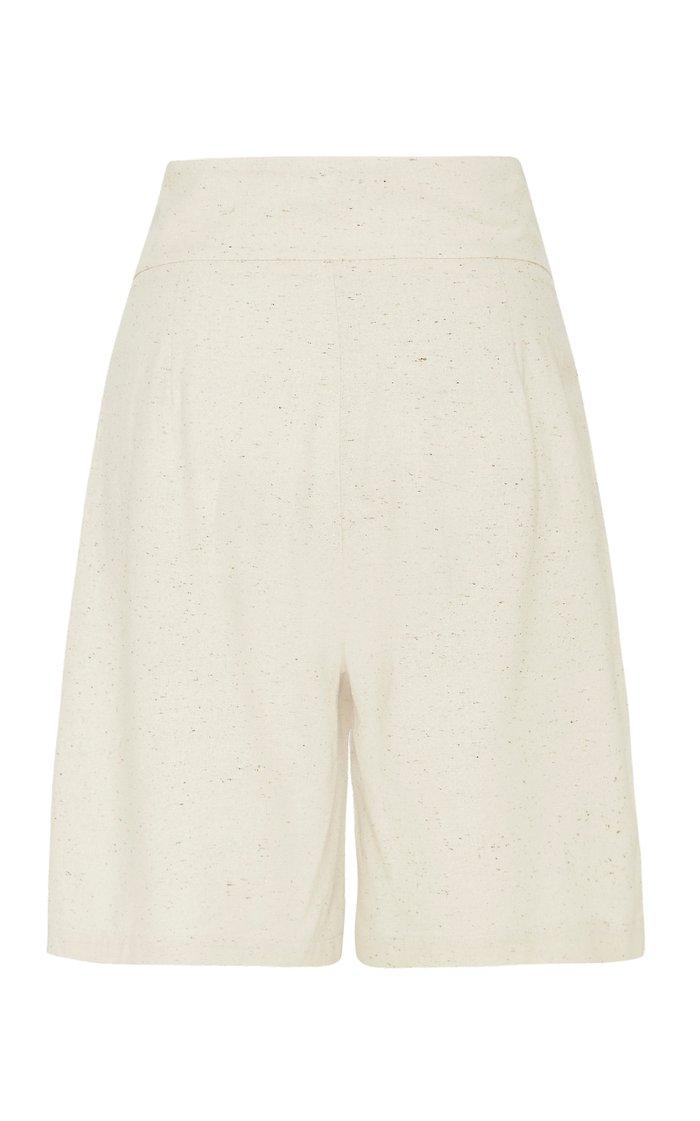 Hiromi Belted Silk Knee-Length Shorts