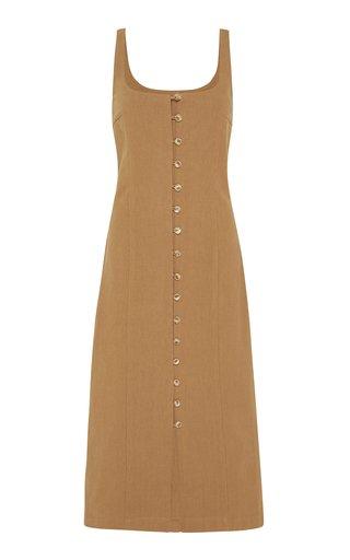 Ghita Cotton-Linen Button-Front Midi Dress