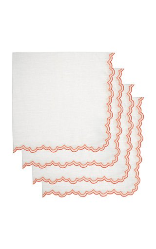 Set-Of-Four Embroidered Linen Dinner Napkins