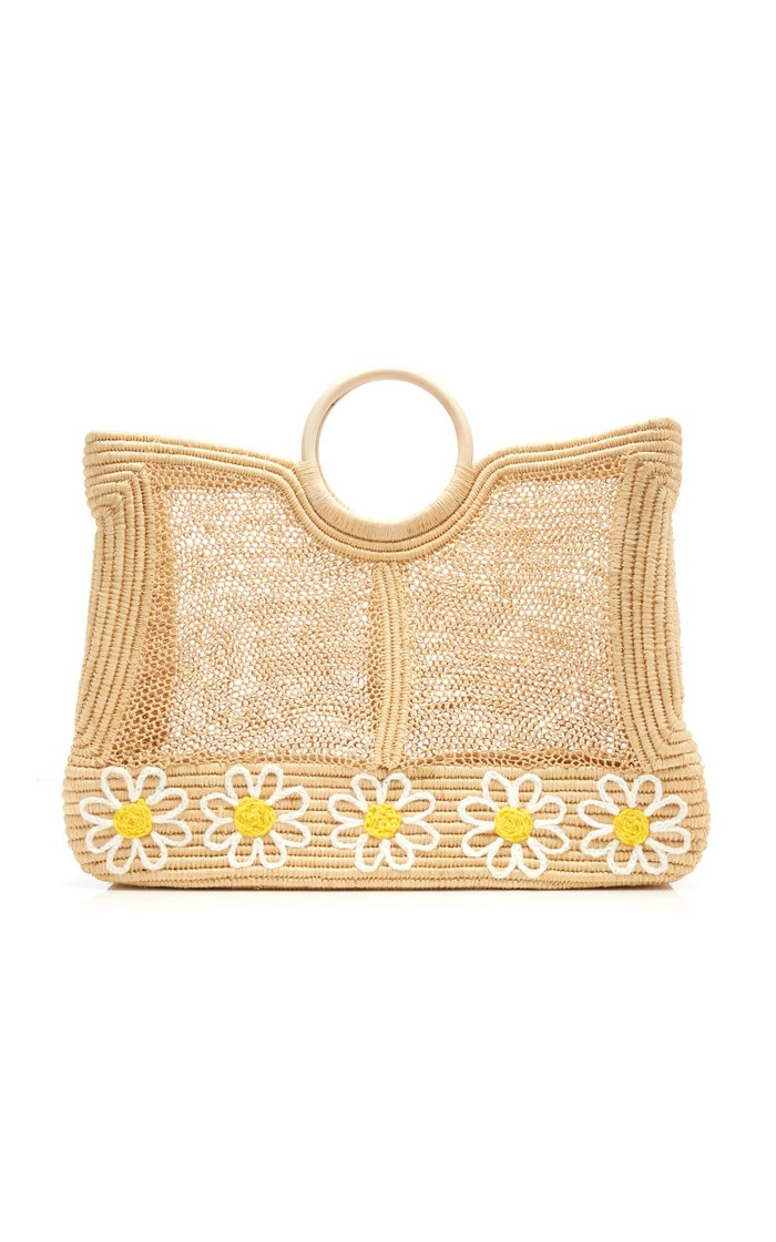 Lace Embroidered Woven Raffia Tote