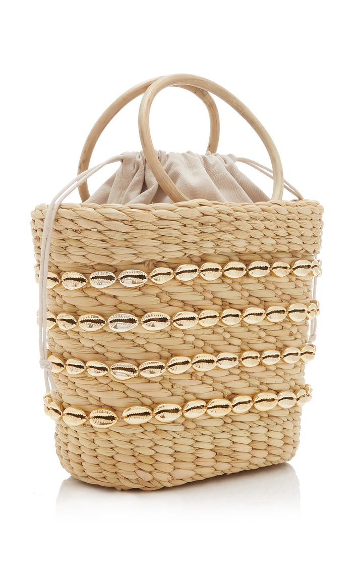 Embellished Straw Top-Handle Bag