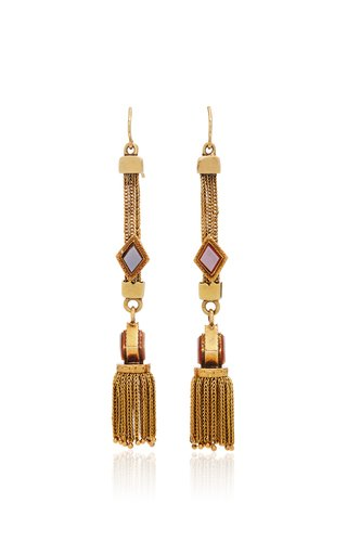 15K Yellow Gold Victorian Fringe Earrings with Natural Agate Detail