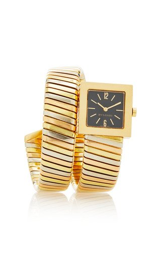 18K Tricolor Gold 1990 Bulgari Tricolor Gold Electronic Movement F111 SW 22mm Square Dial