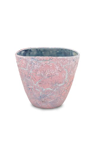 Unique Vase  Pink Crackled & Pearl