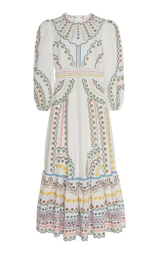 Specialorder-Peggy Lace-Embroidered Linen Dress-AP
