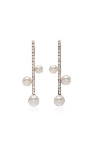 14K Gold, Diamond & Pearl Trio Bar Earrings