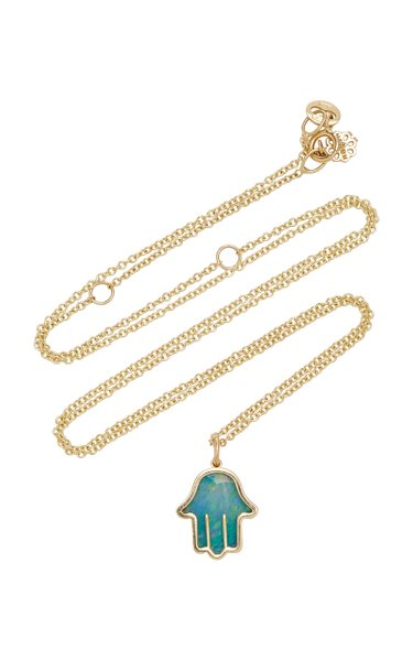 Hamsa 14K Gold And Opal Necklace
