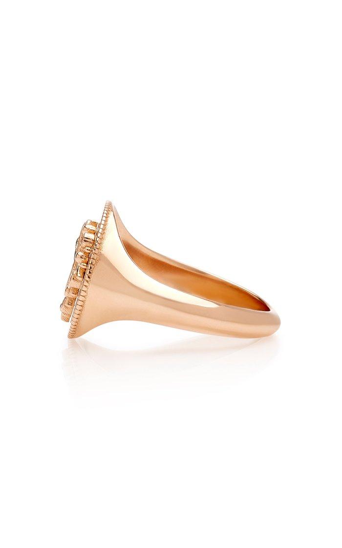 Shiva 14K Rose Gold, Emerald And Diamond Ring