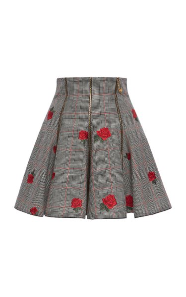 Prince of Wales Embroidered Skirt