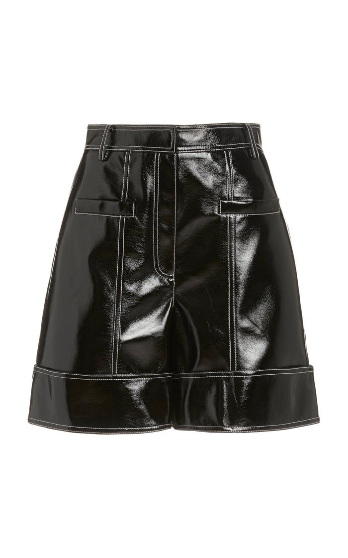 Faux Patent Leather Cuffed Cargo Shorts