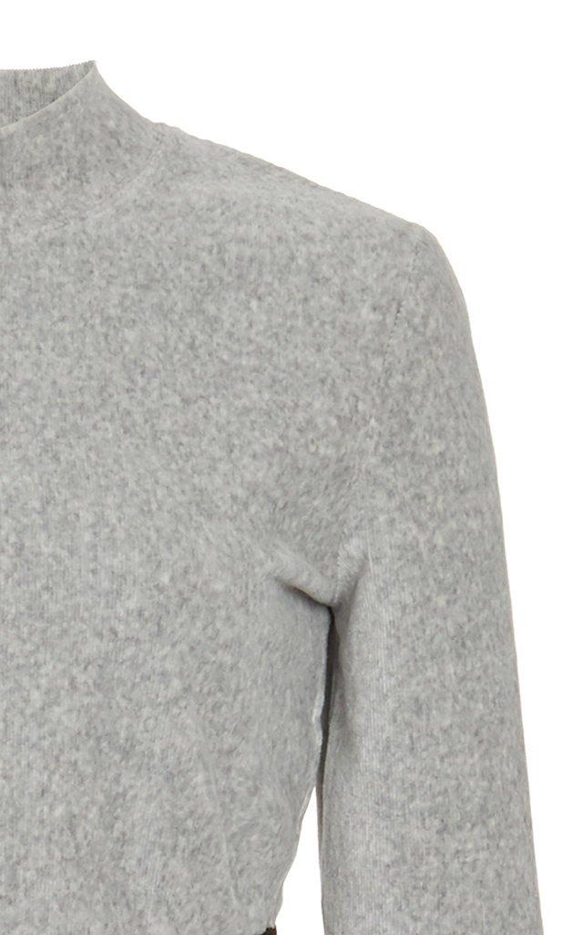 Logo Cropped Mockneck Cotton-Jersey Top