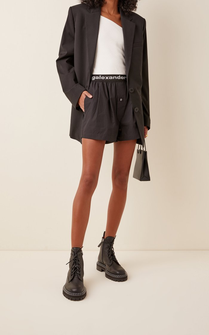 Logo Pleated Pull-On Cotton Shorts