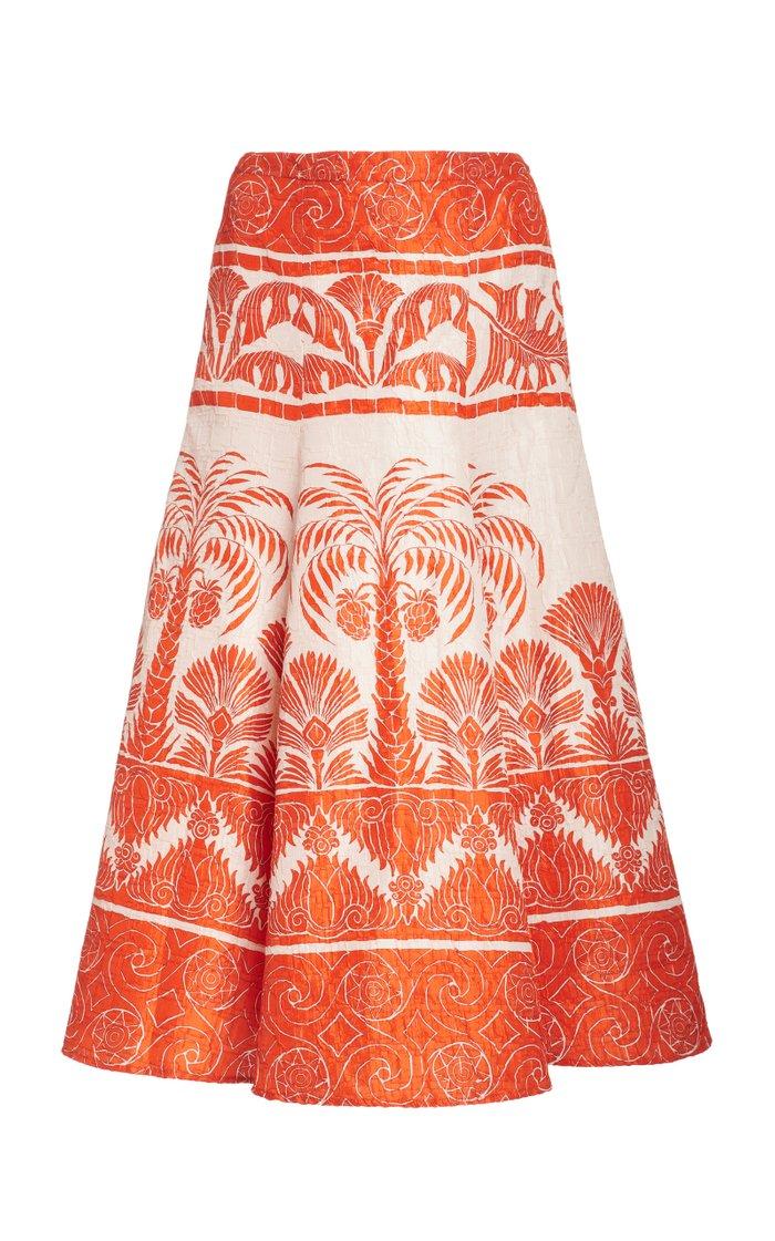 The Palm To Nadube Printed Silk-Blend Skirt
