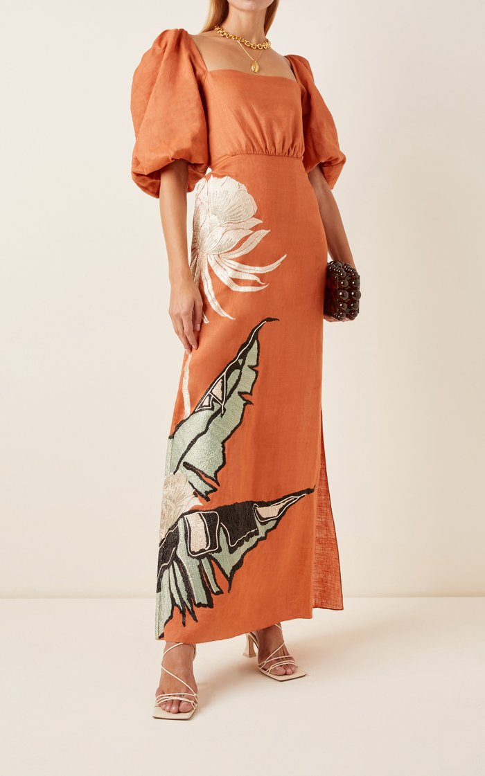Horn Of African Embroidered Linen Dress