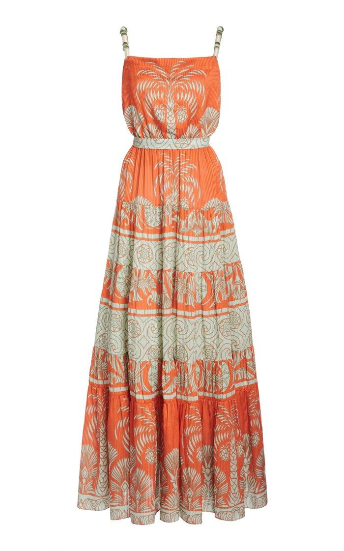 Palms Shades Printed Silk Midi Dress