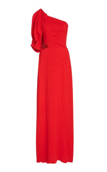 Lava Shimmering Blush Removable Sleeve Crepe Dress