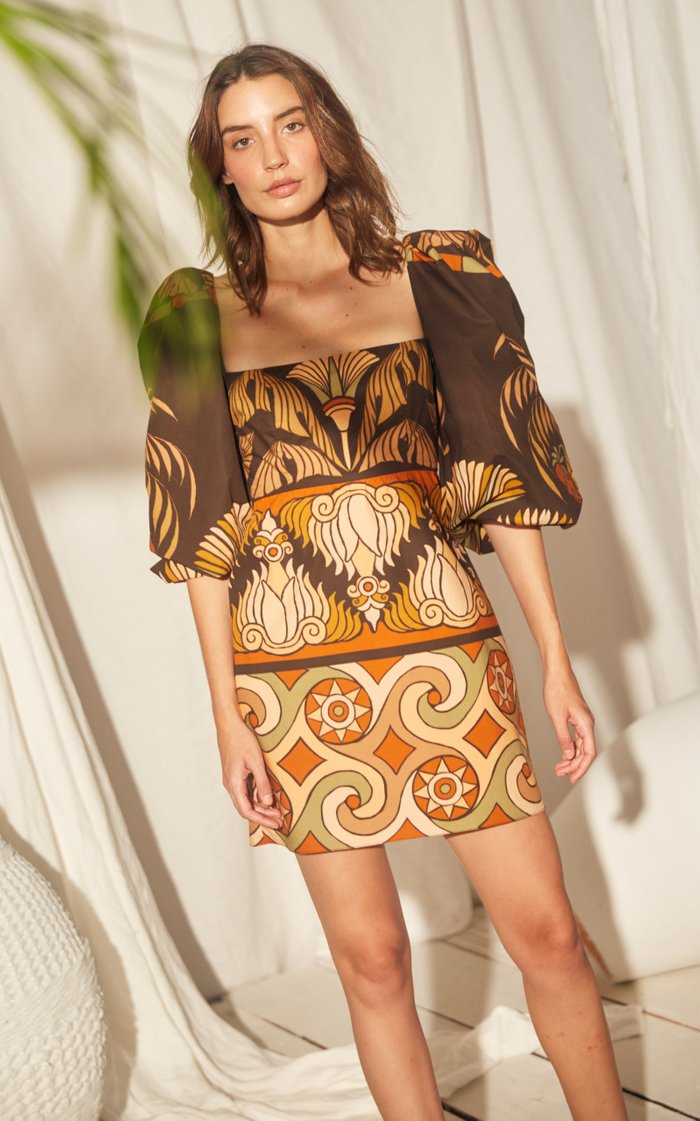Deluge Puffed-Sleeve Cotton Dress