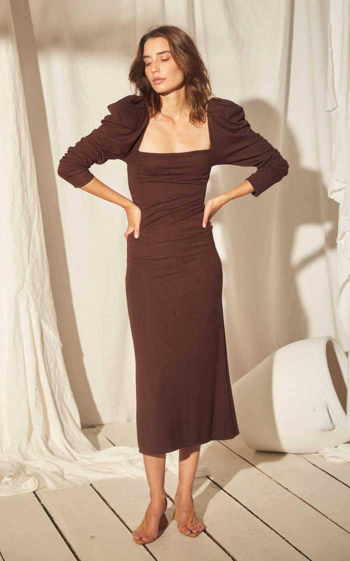 Ember Of A New World Puffed-Sleeve Crepe Dress