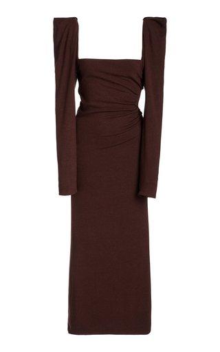 Ember Of A New World Puffed-Sleeve Crepe Dress