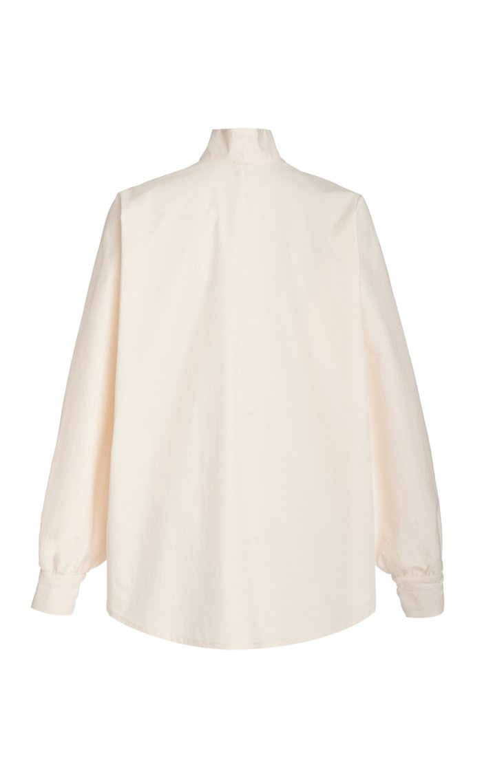 Old World Wrap-Effect Cotton-Blend Top