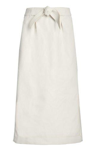 Ecru Silver Light Recycled Vegan Leather Skirt