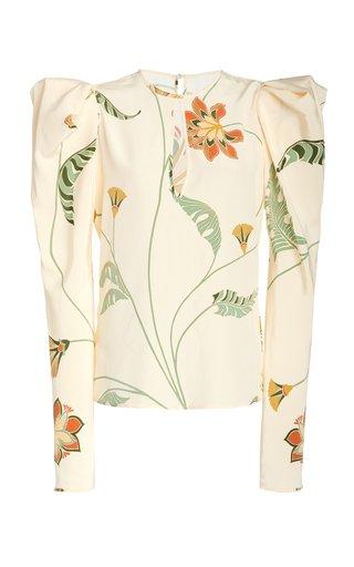 Cheerful Midnight Puffed-Sleeve Silk Blouse