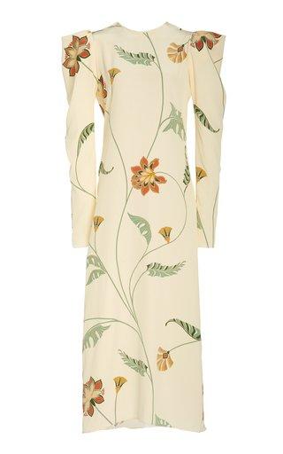 Splashing Flowers Printed Silk Dress