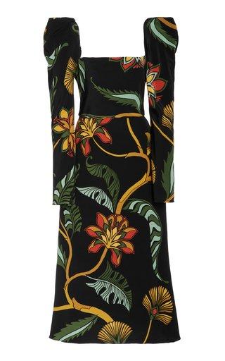 Secret Passage Puffed-Sleeve Silk Dress