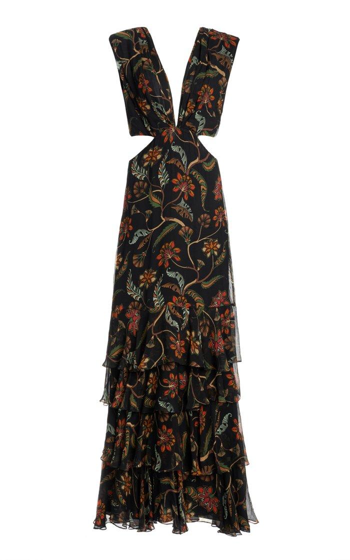 Black Maiden Voyage Tiered Chiffon Dress