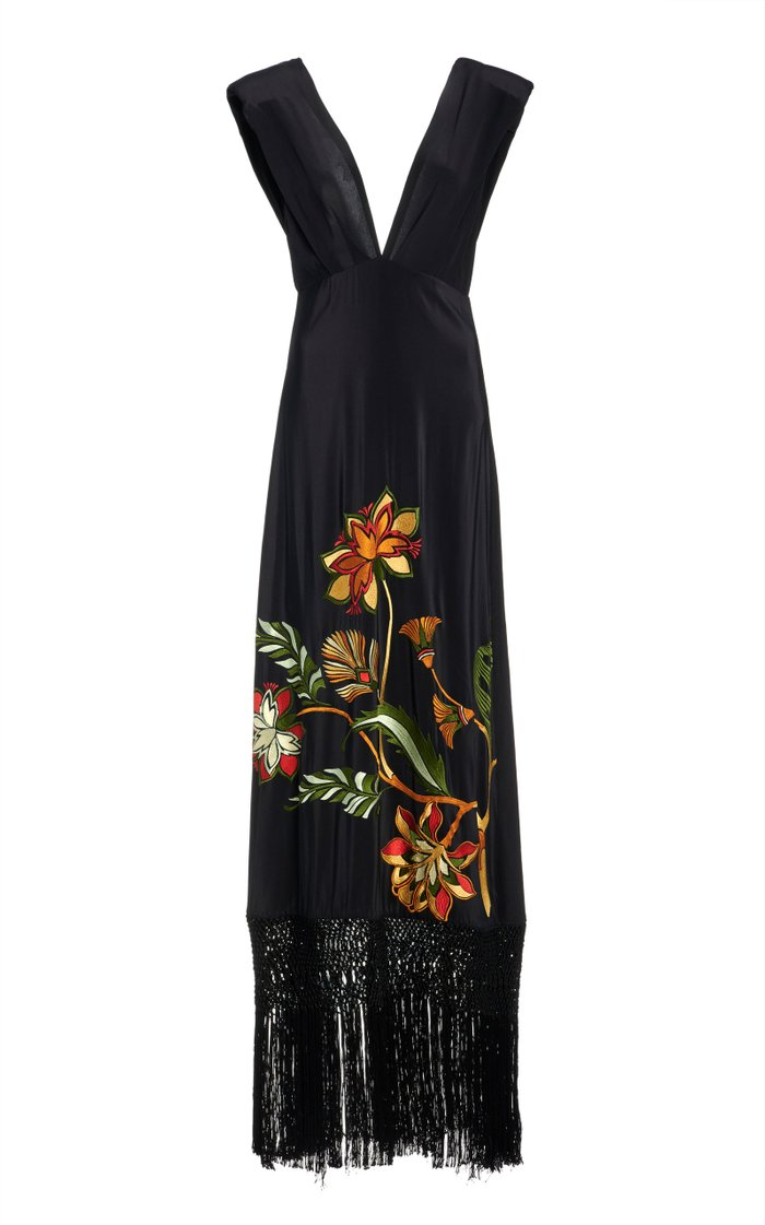 Warrior Goddess Embroidered Silk Dress