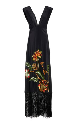 Warrior Goddess Embroidered Silk Dress