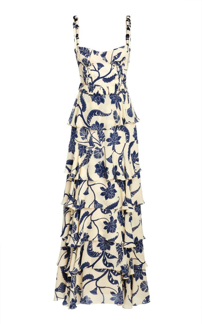 Cat Goddess Tiered Ruffle Silk Dress