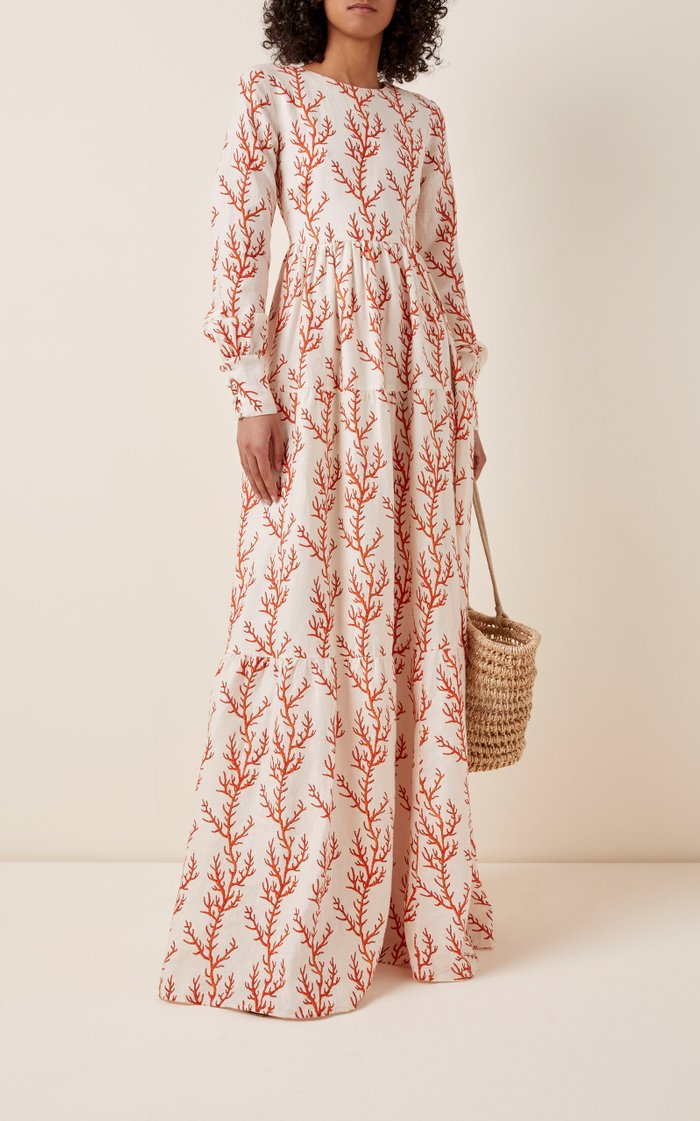 Nuez Arrecife Printed Linen Maxi Dress