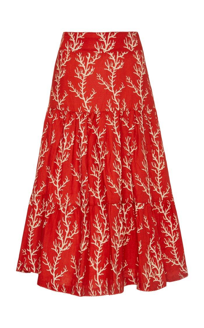 Arrecife Anis Printed Linen Midi Skirt