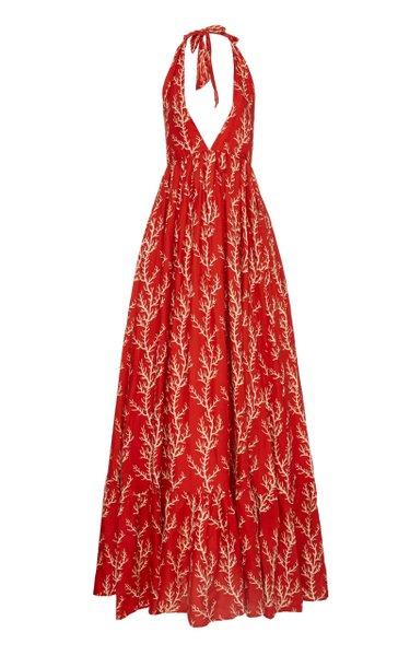 Oliva Arrecife Printed Linen Halterneck Maxi Dress