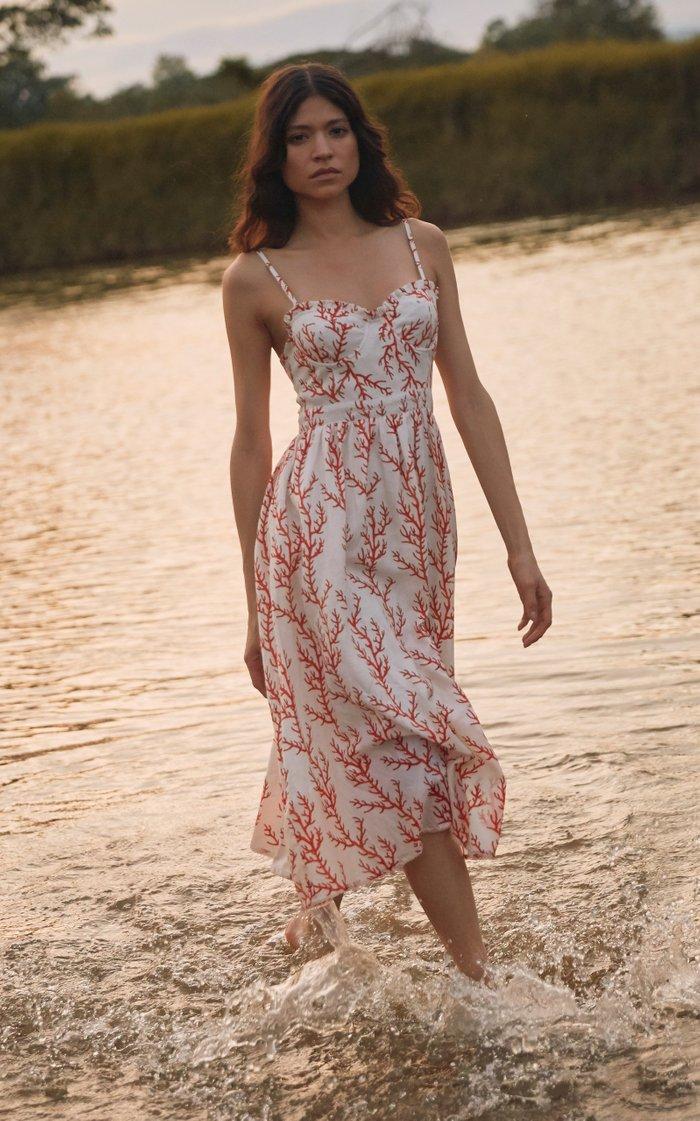 Acacia Arrecife Printed Linen Midi Dress