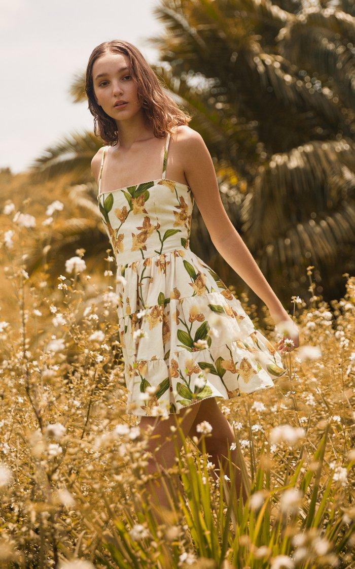 Lima Jardin Floral-Print Linen Mini Dress
