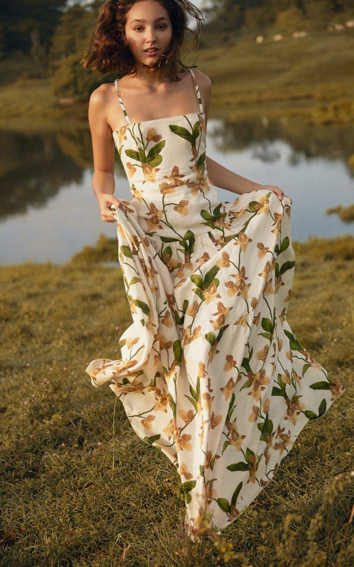 Lima Jardin Floral-Print Linen Maxi Dress