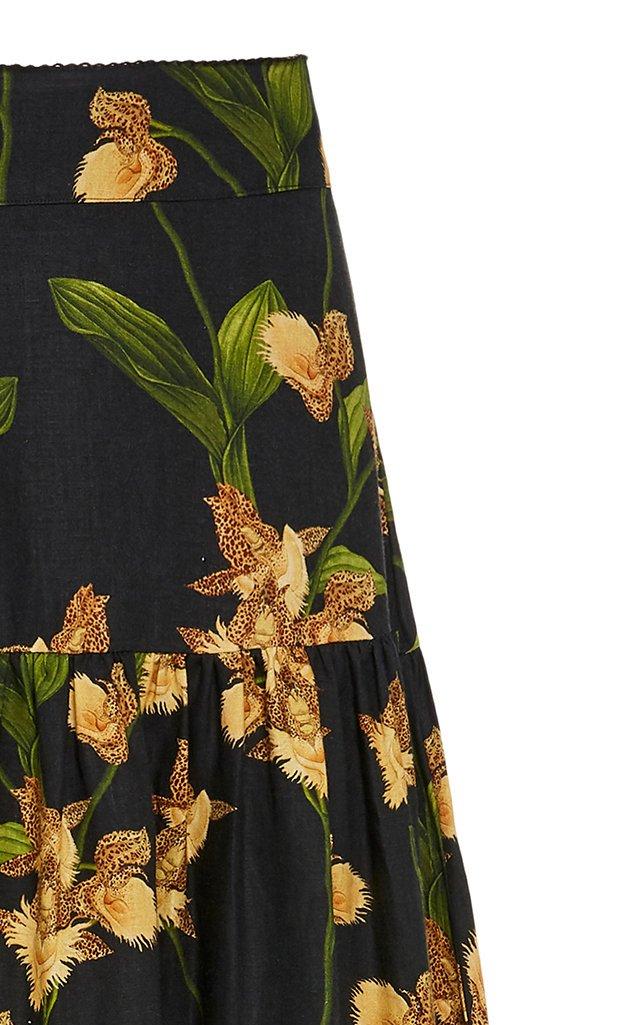 Anis Jardin Tiered Linen Maxi Skirt