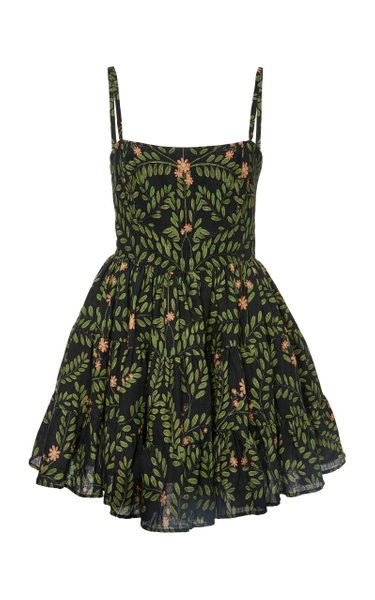 Lima Herbal Embroidered Linen Mini Dress