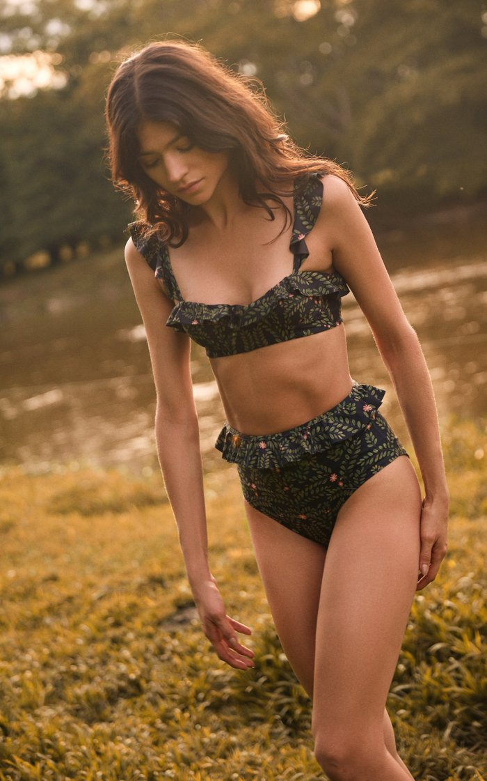 Margot Ruffled Printed Bikini Top