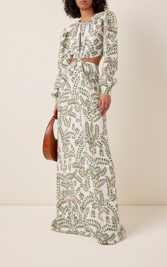 Parana Herbal Cutout Printed Linen Maxi Dress