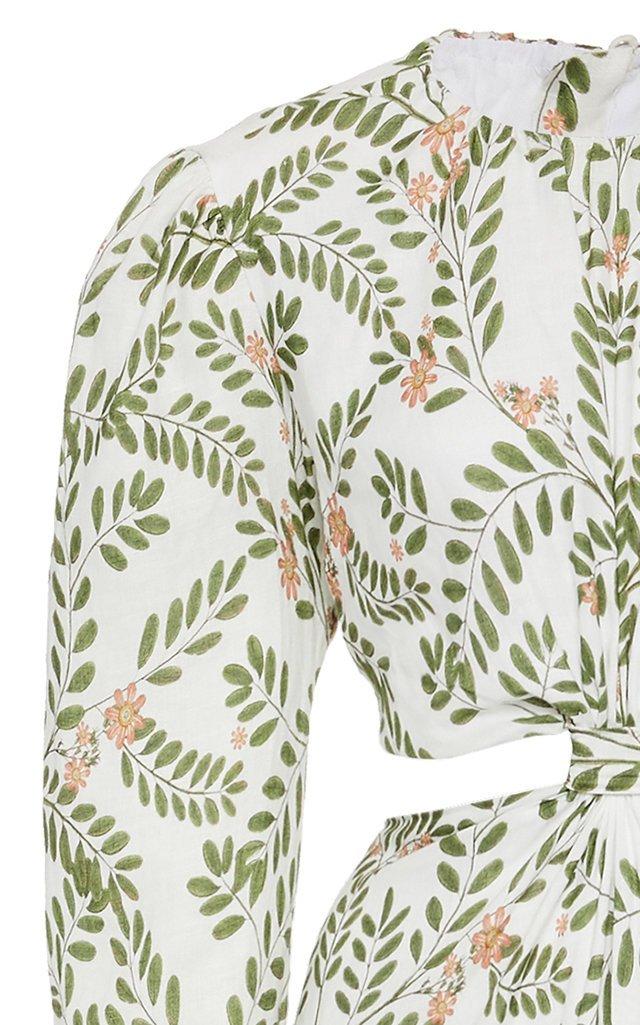 Parana Herbal Cutout Printed Linen Maxi Dress