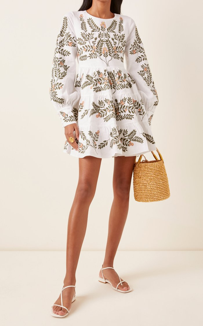 Nuez Herbal Embroidered Linen Mini Dress
