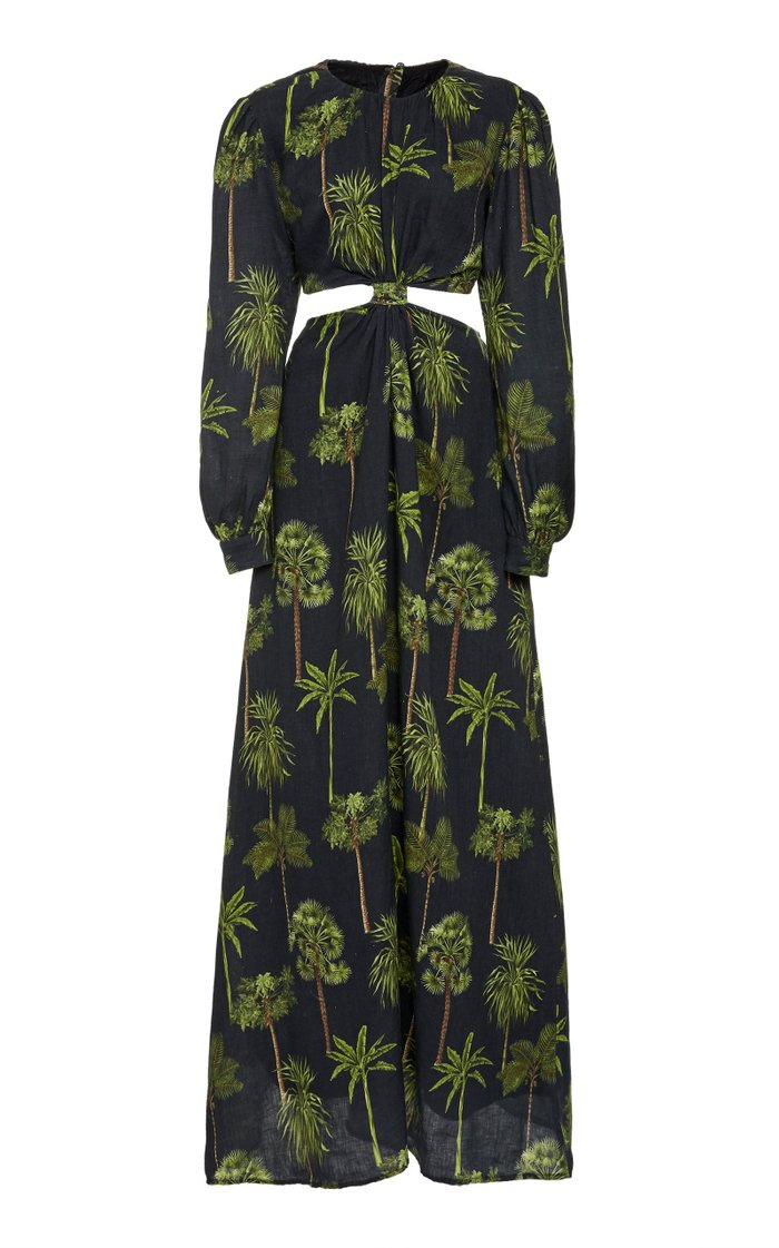 Parana Tropico Cutout Printed Linen Maxi Dress